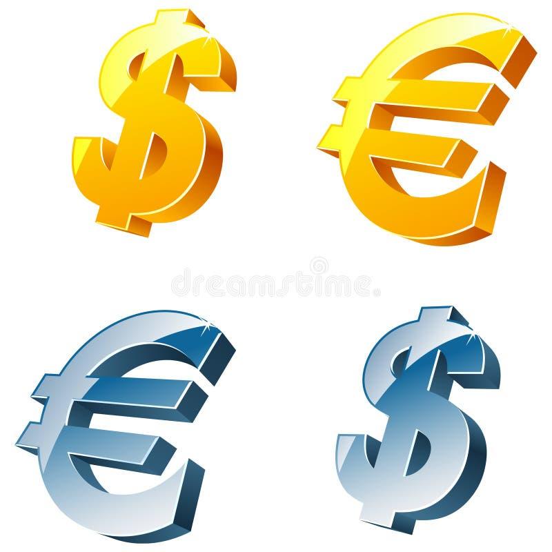 ευρο- σημάδια δολαρίων απεικόνιση αποθεμάτων