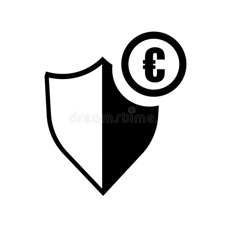 Ευρο- σημάδι και σύμβολο εικονιδίων ασπίδων ασφάλειας νομίσματος διανυσματικά που απομονώνονται στο άσπρο υπόβαθρο, ευρο- έννοια  διανυσματική απεικόνιση