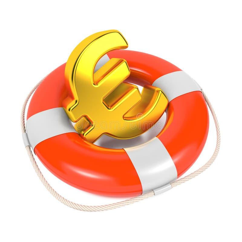 Ευρο- σημάδι σε κόκκινο Lifebuoy. Απομονωμένος στο λευκό. απεικόνιση αποθεμάτων