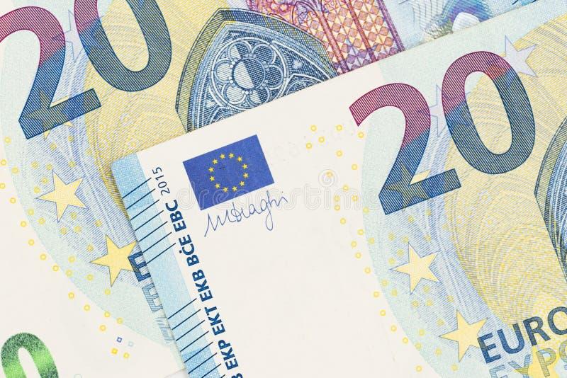 20 ευρο- στενός επάνω τραπεζογραμματίων Είκοσι ευρώ Μπιλ στοκ εικόνες