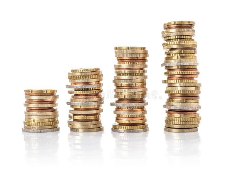 Ευρο- σωροί νομισμάτων σε ένα άσπρο υπόβαθρο στοκ φωτογραφία με δικαίωμα ελεύθερης χρήσης