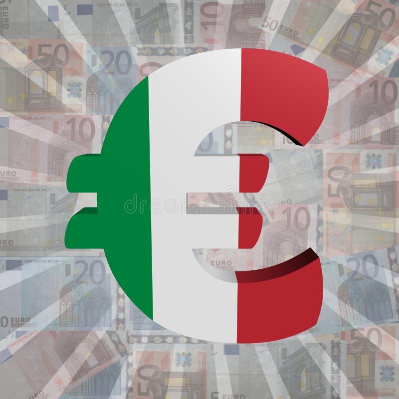 Ευρο- σύμβολο με την ιταλική σημαία στην ευρο- απεικόνιση νομίσματος ελεύθερη απεικόνιση δικαιώματος