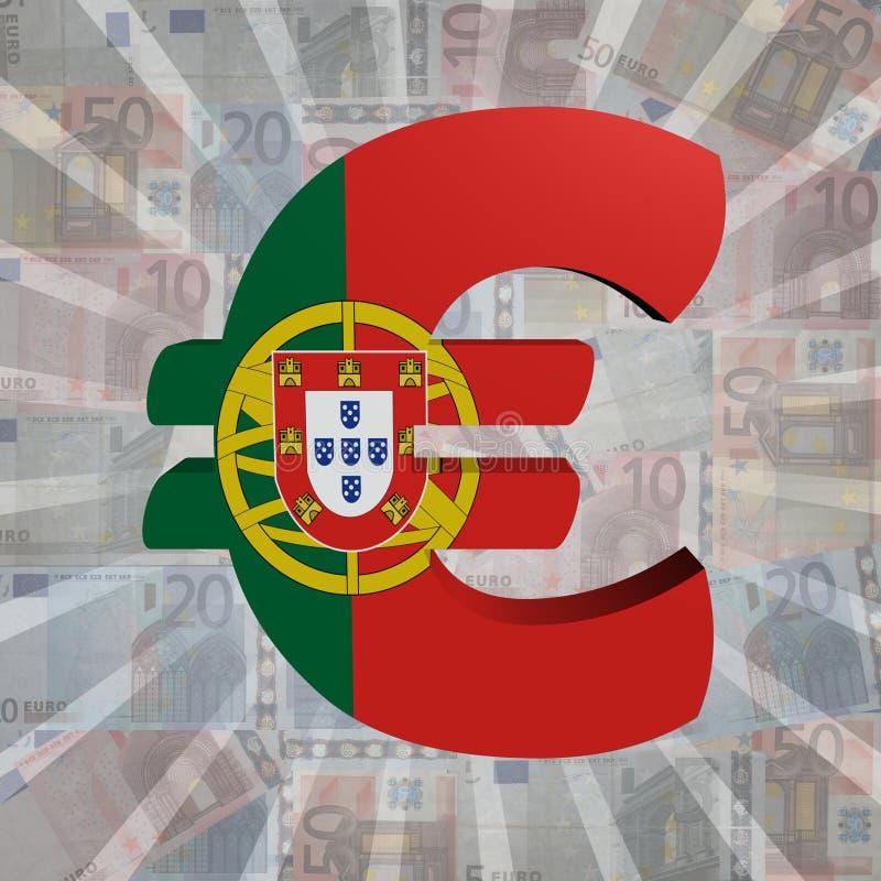 Ευρο- σύμβολο με την πορτογαλική σημαία στην ευρο- απεικόνιση νομίσματος διανυσματική απεικόνιση