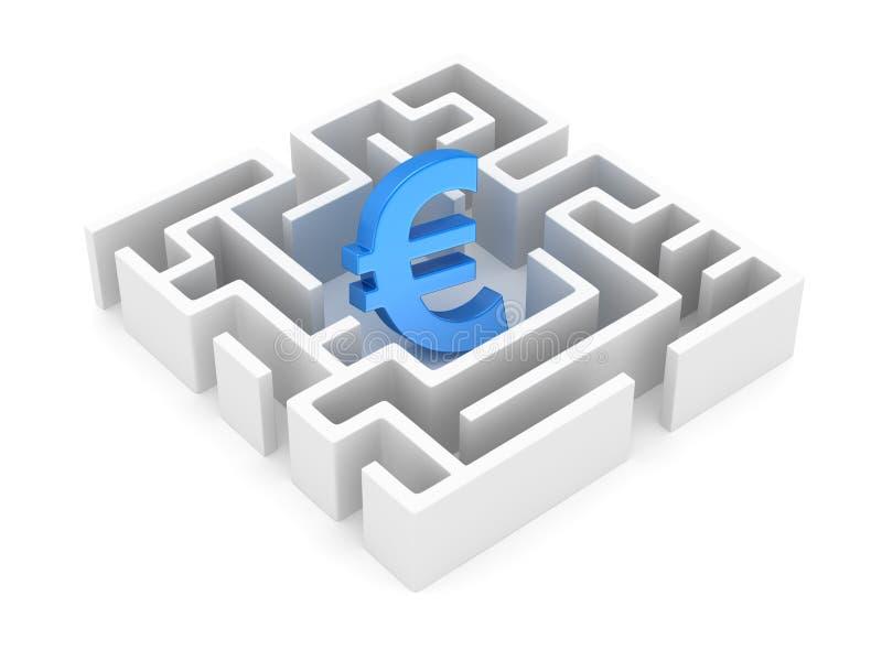 Ευρο- σύμβολο στον άσπρο λαβύρινθο ελεύθερη απεικόνιση δικαιώματος