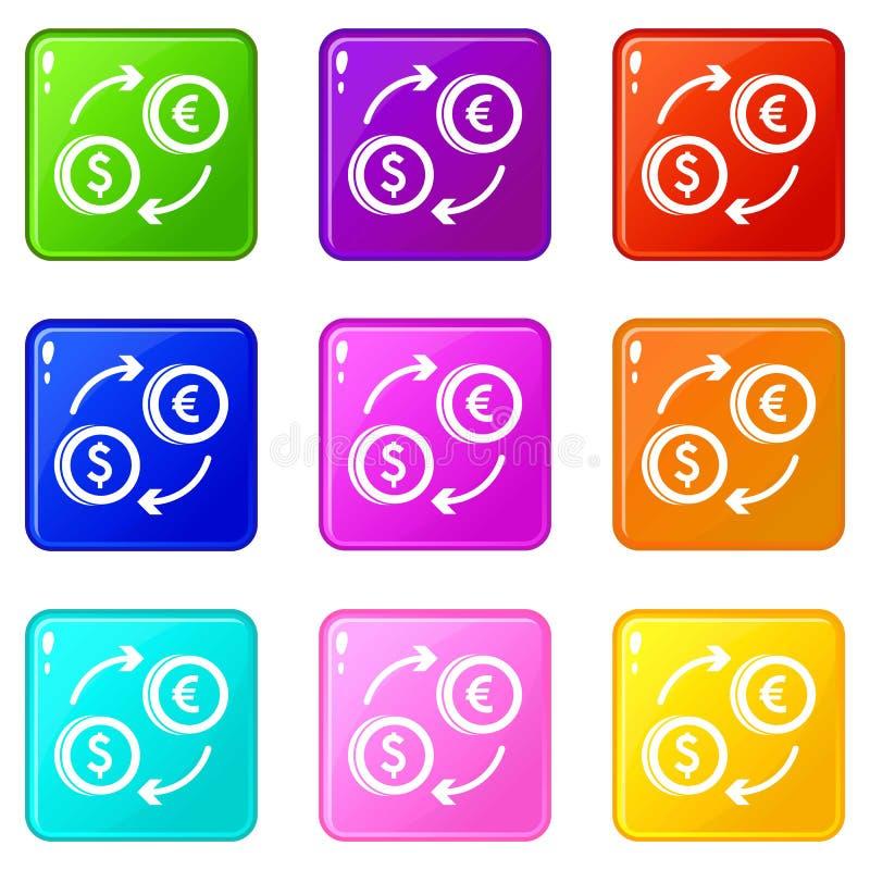 Ευρο- σύνολο 9 ανταλλαγής δολαρίων ευρο- διανυσματική απεικόνιση