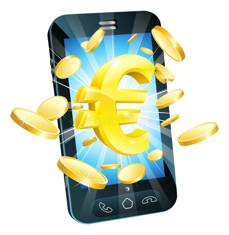 ευρο- τηλέφωνο χρημάτων έννοιας Στοκ Εικόνες