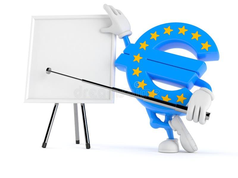 Ευρο- χαρακτήρας νομίσματος με το κενό whiteboard απεικόνιση αποθεμάτων