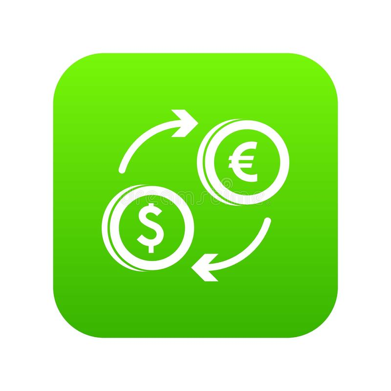 Ευρο- ψηφιακός πράσινος εικονιδίων ανταλλαγής δολαρίων ευρο- διανυσματική απεικόνιση