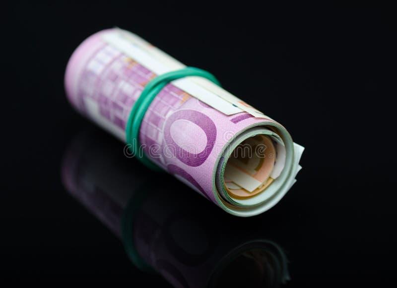 Ευρωπαϊκά χρήματα εγγράφου στο ρόλο στοκ εικόνα
