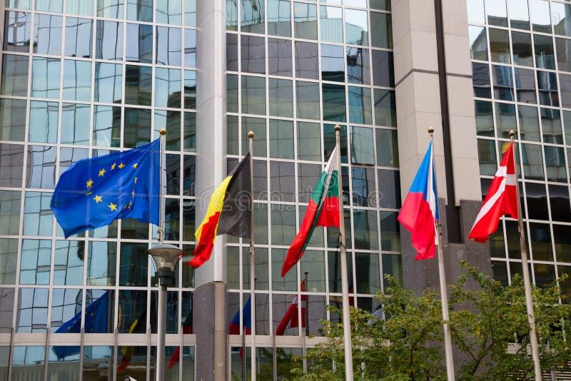 Ευρωπαϊκές σημαίες, Βρυξέλλες στοκ εικόνα