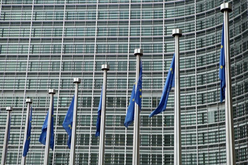 ευρωπαϊκές σημαίες των Βρυξελλών στοκ φωτογραφία