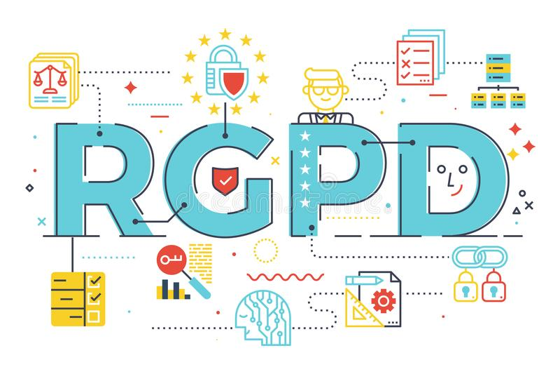 Ευρωπαϊκή έννοια λέξης κανονισμού προστασίας δεδομένων GDPR γενική διανυσματική απεικόνιση
