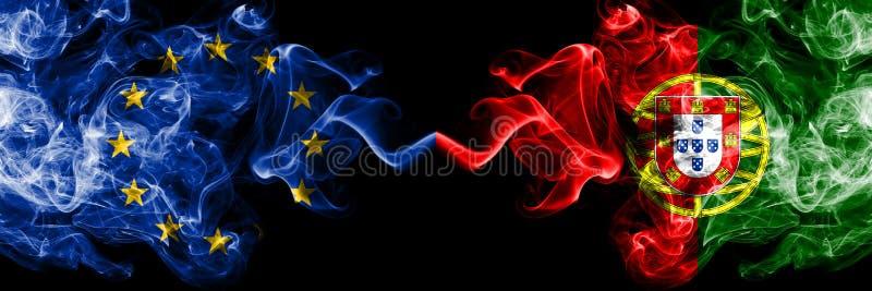 Ευρωπαϊκή Ένωση εναντίον της Πορτογαλίας, πορτογαλικές σημαίες καπνο ελεύθερη απεικόνιση δικαιώματος