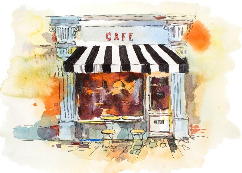 Ευρωπαϊκή αναδρομική απεικόνιση Watercolor εστιατορίων ή καφέδων ελεύθερη απεικόνιση δικαιώματος