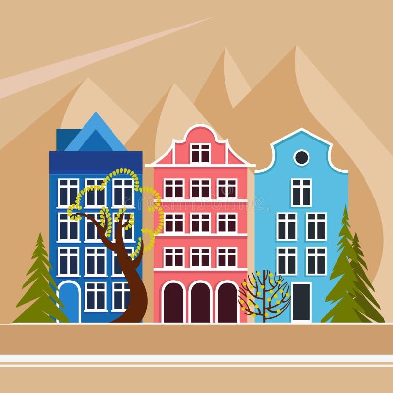 Ευρωπαϊκή πόλη στα βουνά Πρωινή άνοιξη θερινού φθινοπώρου Οδός πόλεων με πέντε σπίτια, δέντρα αποβαλλόμενα και κωνοφόρα απεικόνιση αποθεμάτων
