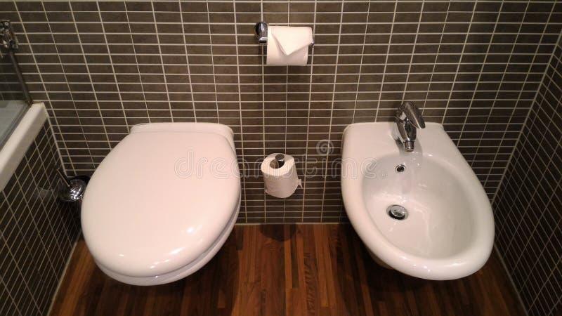 Ευρωπαϊκή τουαλέτα: μοναδικό ύφος της τουαλέτας με τον μπιντέ στοκ φωτογραφία με δικαίωμα ελεύθερης χρήσης