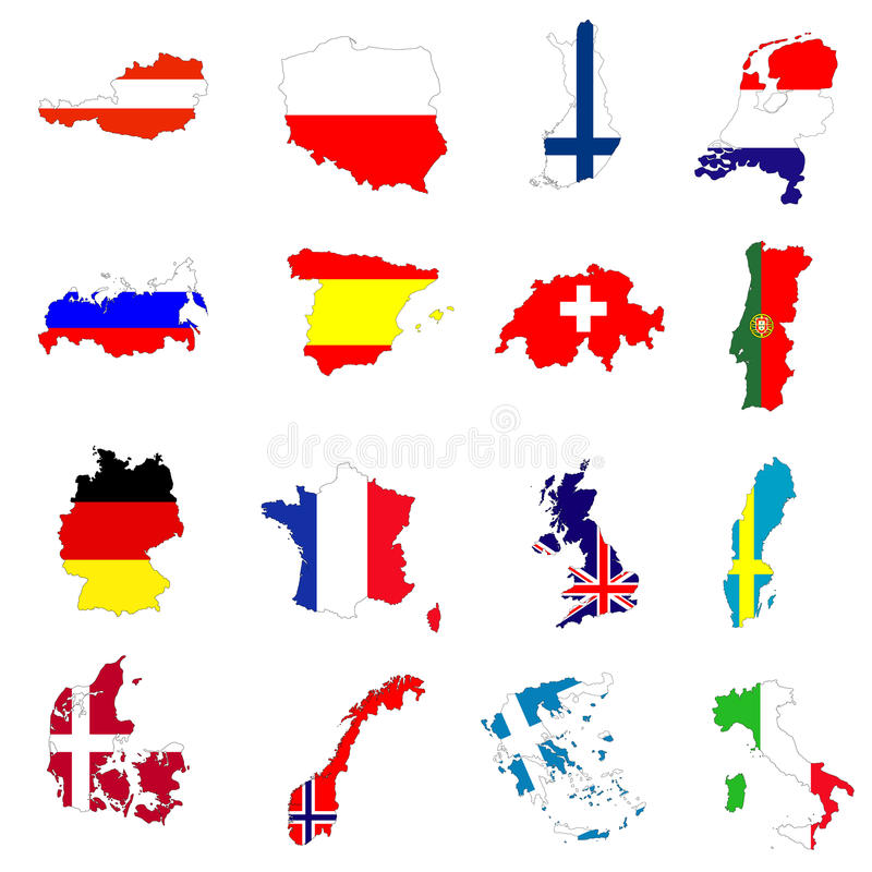 ευρωπαϊκοί χάρτες χωρών ελεύθερη απεικόνιση δικαιώματος