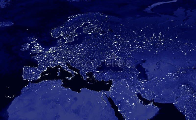 Ευρωπαϊκός χάρτης φω'των ηπείρων ηλεκτρικός τη νύχτα Ευρωπαϊκά φω'τα πόλεων Mao της Ευρώπης στοκ εικόνα