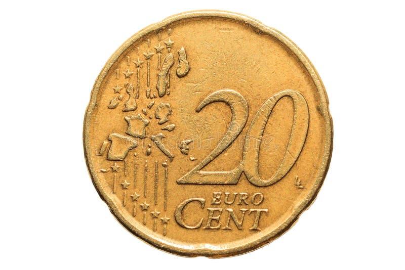 Ευρωπαϊκό νόμισμα με μια ονομαστική αξία είκοσι ευρο- σεντ που απομονώνονται στο άσπρο υπόβαθρο Μακρο εικόνα των ευρωπαϊκών νομισ στοκ φωτογραφίες
