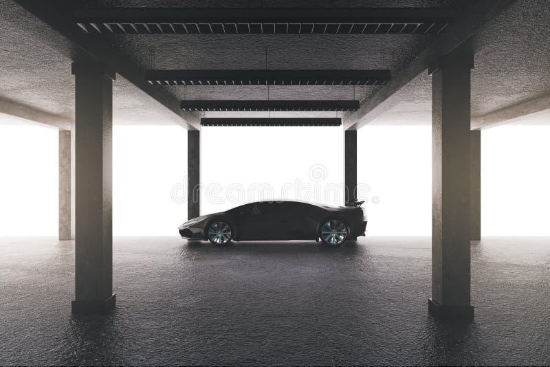 Ευρύχωρο γκαράζ με το αυτοκίνητο απεικόνιση αποθεμάτων