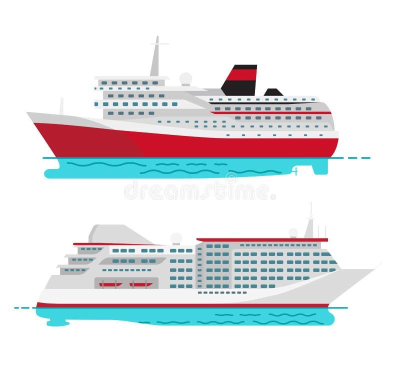 Ευρύχωρο σκάφος της γραμμής κρουαζιέρας πολυτέλειας και μεγάλο κόκκινο ατμόπλοιο διανυσματική απεικόνιση