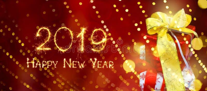 Ευρύ έμβλημα καλή χρονιά 2019 Ιστού διακοπών γωνίας ελεύθερη απεικόνιση δικαιώματος