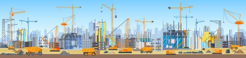Ευρύ επικεφαλής έμβλημα της διαδικασίας κατασκευής οριζόντων πόλεων Γερανοί πύργων στο εργοτάξιο οικοδομής Κτήρια κάτω από την οι διανυσματική απεικόνιση