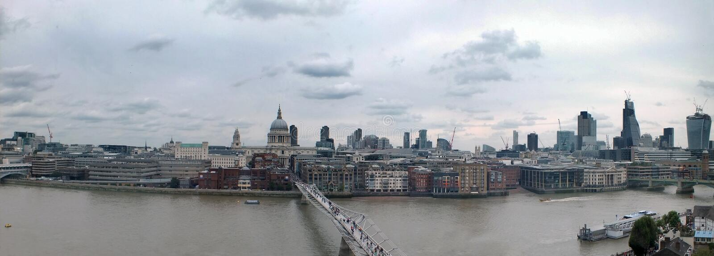 Ευρύ πανόραμα της πόλης του Λονδίνου κατά μήκος του Τάμεση που παρουσιάζει τους οικονομικούς ουρανοξύστες περιοχής και ιστορικά κ στοκ φωτογραφία με δικαίωμα ελεύθερης χρήσης