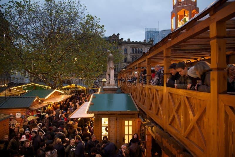 Ευρώπη, Ηνωμένο Βασίλειο, Αγγλία, Lancashire, Μάντσεστερ, Αλβέρτος Square, αγορά Χριστουγέννων στοκ εικόνα με δικαίωμα ελεύθερης χρήσης
