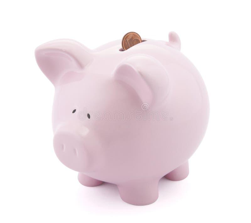 ευρώ ένα σεντ τραπεζών piggy στοκ φωτογραφία