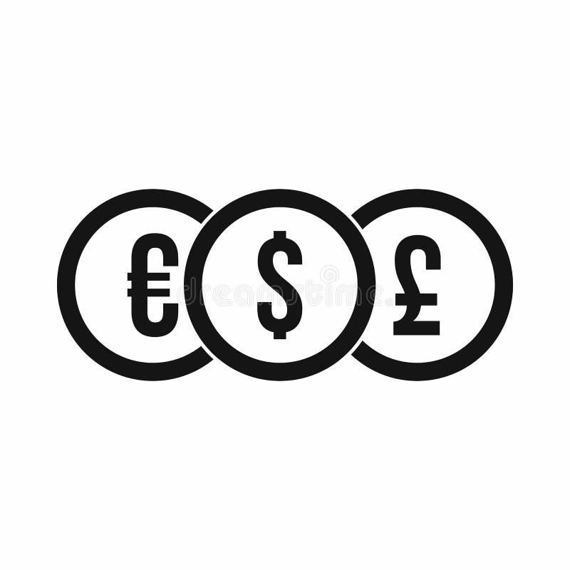 Ευρώ, δολάριο, εικονίδιο νομισμάτων λιβρών, απλό ύφος διανυσματική απεικόνιση