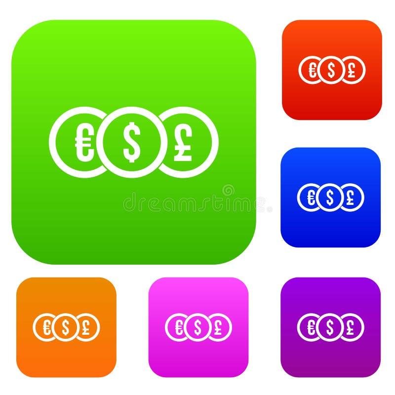 Ευρώ, δολάριο, καθορισμένη συλλογή νομισμάτων λιβρών διανυσματική απεικόνιση