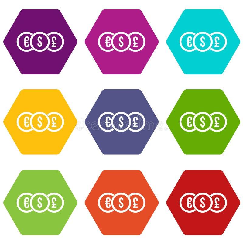 Ευρώ, δολάριο, καθορισμένο χρώμα εικονιδίων νομισμάτων λιβρών hexahedron απεικόνιση αποθεμάτων