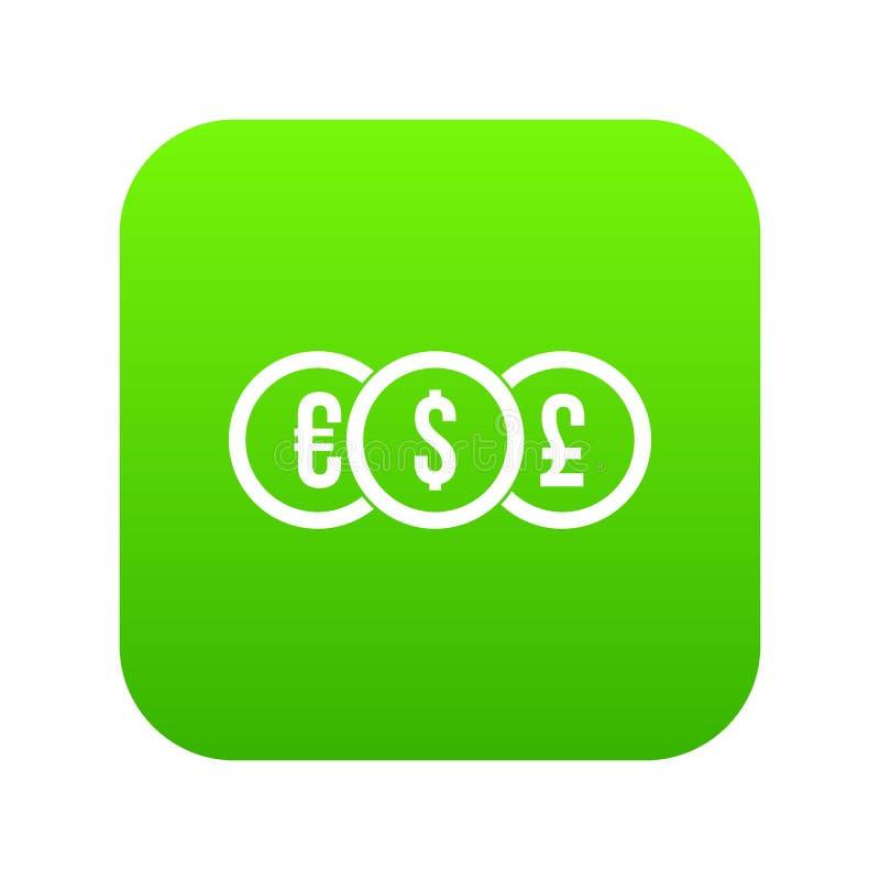 Ευρώ, δολάριο, ψηφιακός πράσινος εικονιδίων νομισμάτων λιβρών διανυσματική απεικόνιση