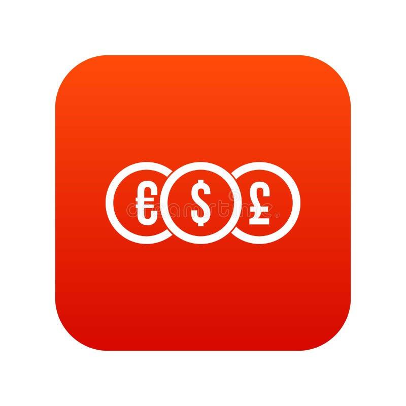 Ευρώ, δολάριο, ψηφιακό κόκκινο εικονιδίων νομισμάτων λιβρών διανυσματική απεικόνιση