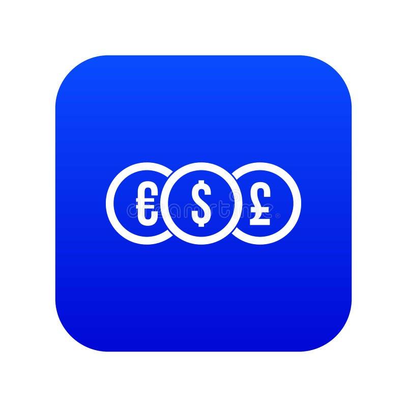 Ευρώ, δολάριο, ψηφιακό μπλε εικονιδίων νομισμάτων λιβρών ελεύθερη απεικόνιση δικαιώματος