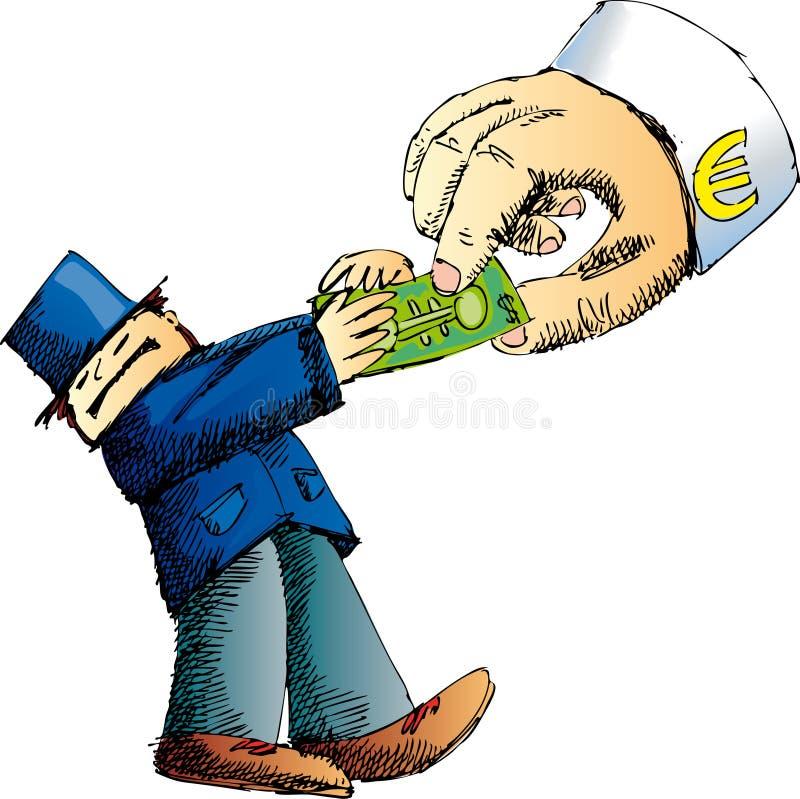 ευρώ δολαρίων εναντίον ελεύθερη απεικόνιση δικαιώματος