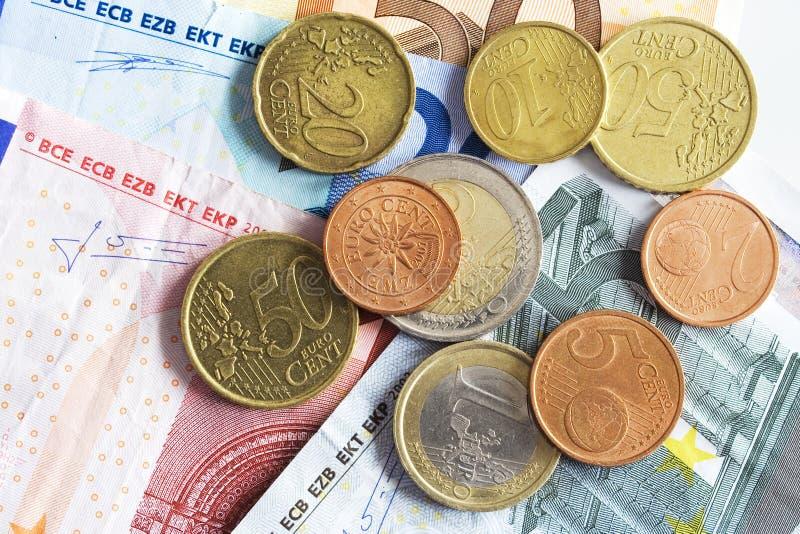 ευρώ νομίσματος νομισμάτων στοκ εικόνες