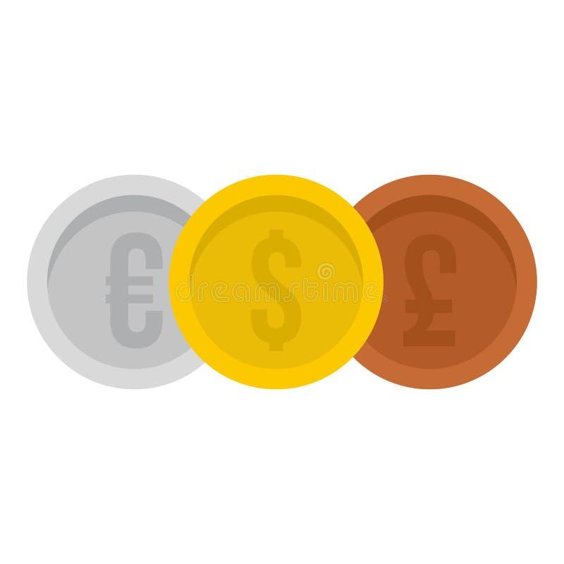 Ευρώ νομισμάτων με το εικονίδιο δολαρίων και λιβρών, επίπεδο ύφος ελεύθερη απεικόνιση δικαιώματος