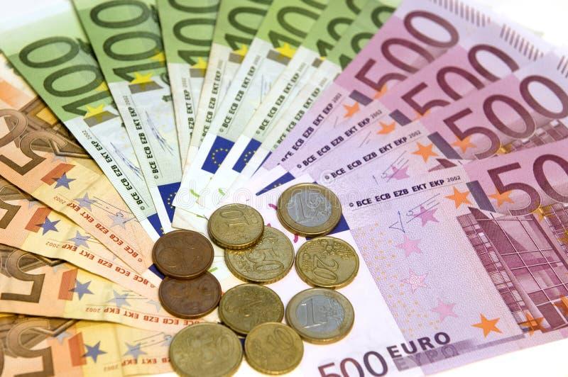 ευρώ νομισμάτων τραπεζογ& στοκ εικόνες