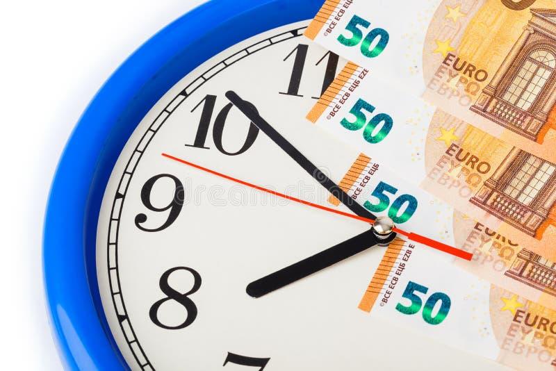 Ευρώ ρολογιών και χρημάτων - επιχειρησιακή έννοια στοκ εικόνα