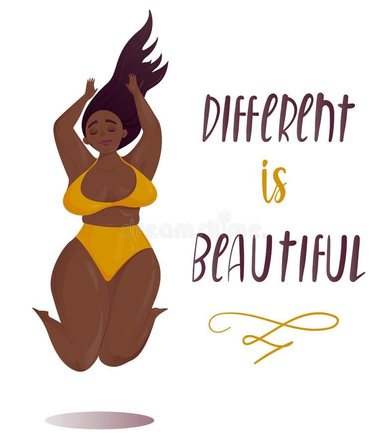 Ευτυχές άλμα συν τη θετική έννοια σώματος κοριτσιών μεγέθους διανυσματική απεικόνιση