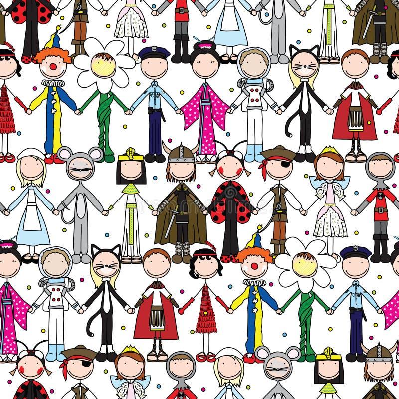 Ευτυχές άνευ ραφής σχέδιο παιδιών ελεύθερη απεικόνιση δικαιώματος