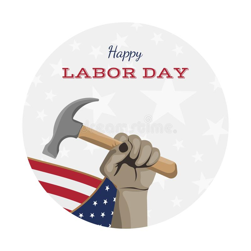 Ευτυχές έμβλημα διακοπών Εργατικής Ημέρας Το άτομο κρατά ένα εργαλείο εργασίας στο χέρι του Ευχετήρια κάρτα με την Ηνωμένη εθνική ελεύθερη απεικόνιση δικαιώματος