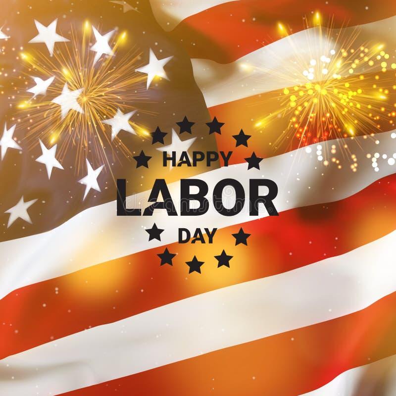 Ευτυχές έμβλημα Εργατικής Ημέρας, αμερικανικό πατριωτικό υπόβαθρο Ημέρα της ανεξαρτησίας της Αμερικής στοκ εικόνες