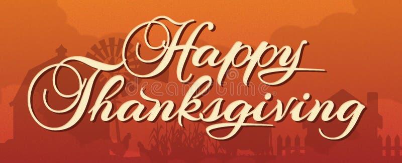 Ευτυχές έμβλημα ημέρας των ευχαριστιών με την αγροτική σκηνή ελεύθερη απεικόνιση δικαιώματος