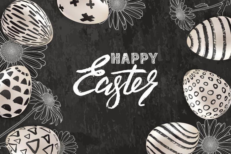 Ευτυχές έμβλημα Πάσχας, ευχετήρια κάρτα, σχέδιο αφισών Διανυσματική απεικόνιση των τρισδιάστατων αυγών Πάσχας και των σκιαγραφημέ απεικόνιση αποθεμάτων