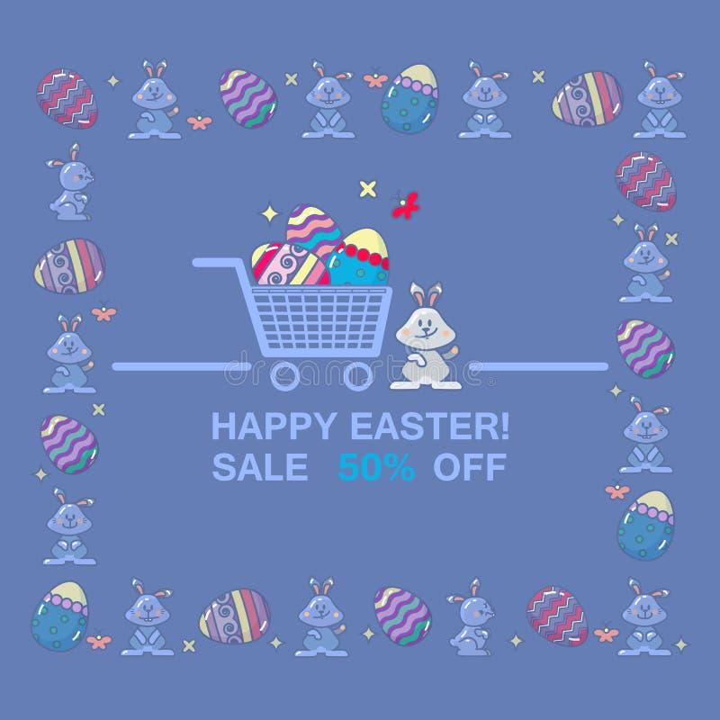 Ευτυχές έμβλημα πώλησης Πάσχας Προσφορά διακοπών άνοιξη ελεύθερη απεικόνιση δικαιώματος