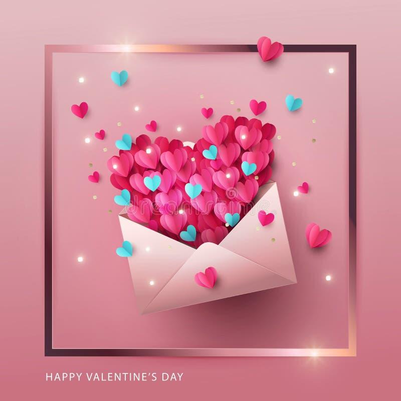 Ευτυχές έμβλημα σχεδίου ημέρας βαλεντίνων, ευχετήρια κάρτα, αφίσα Απεικόνιση της επιστολής αγάπης απεικόνιση αποθεμάτων