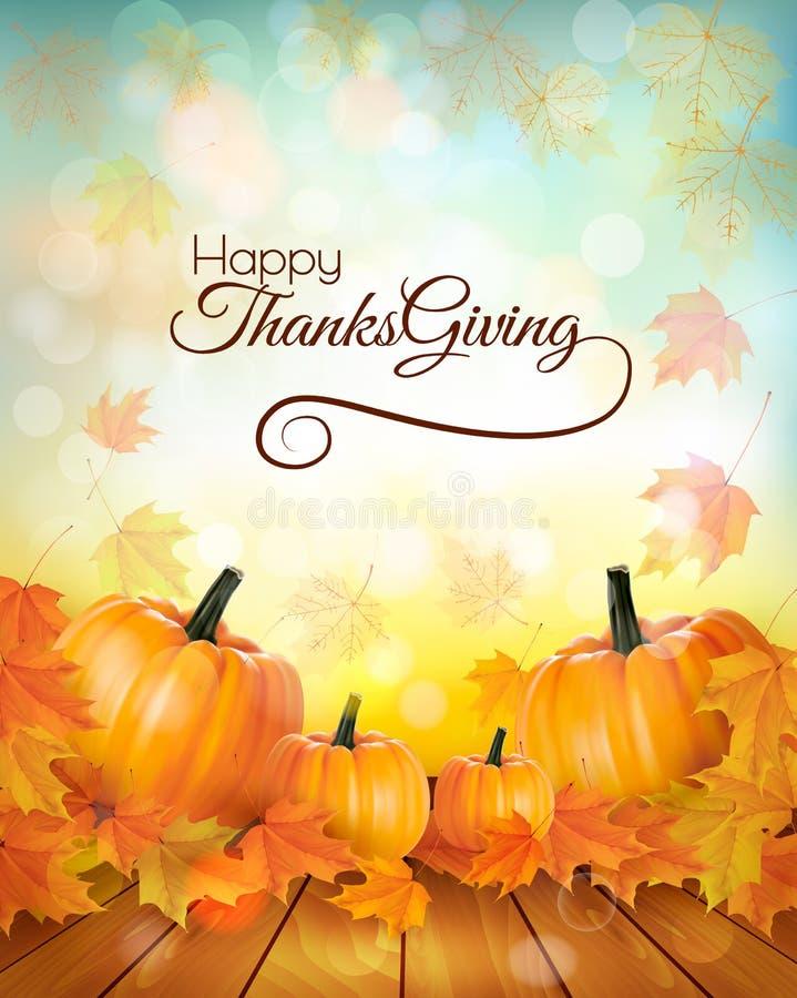 Ευτυχές έμβλημα ημέρας των ευχαριστιών με τα λαχανικά φθινοπώρου διανυσματική απεικόνιση